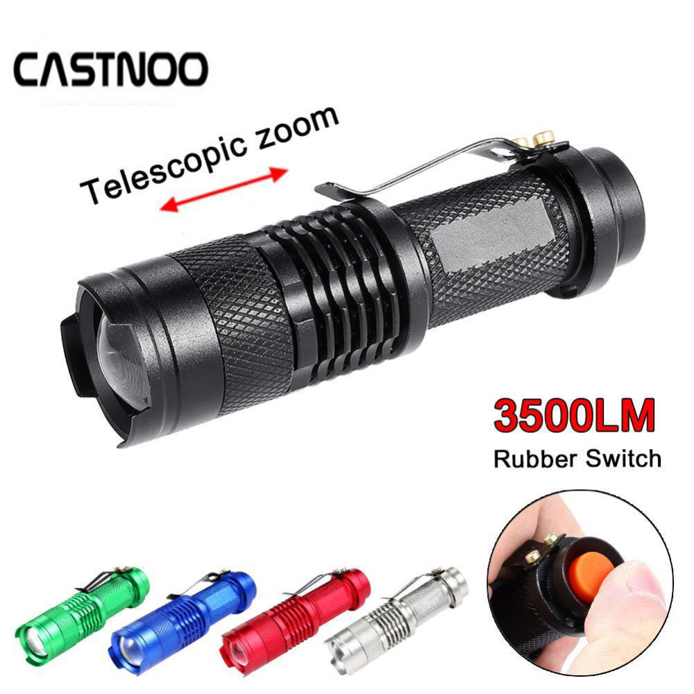 CASTNOO Portable LED Flashlight ZOOM 7W 2000LM Lanterna LED Light 3 Modes Torch AA 14500 Battery Flashlight Battery High Quality