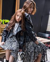 Mother-Child Korean Girls Autumn Winter PU Leather Zipper Jacket Kids Clothing Black