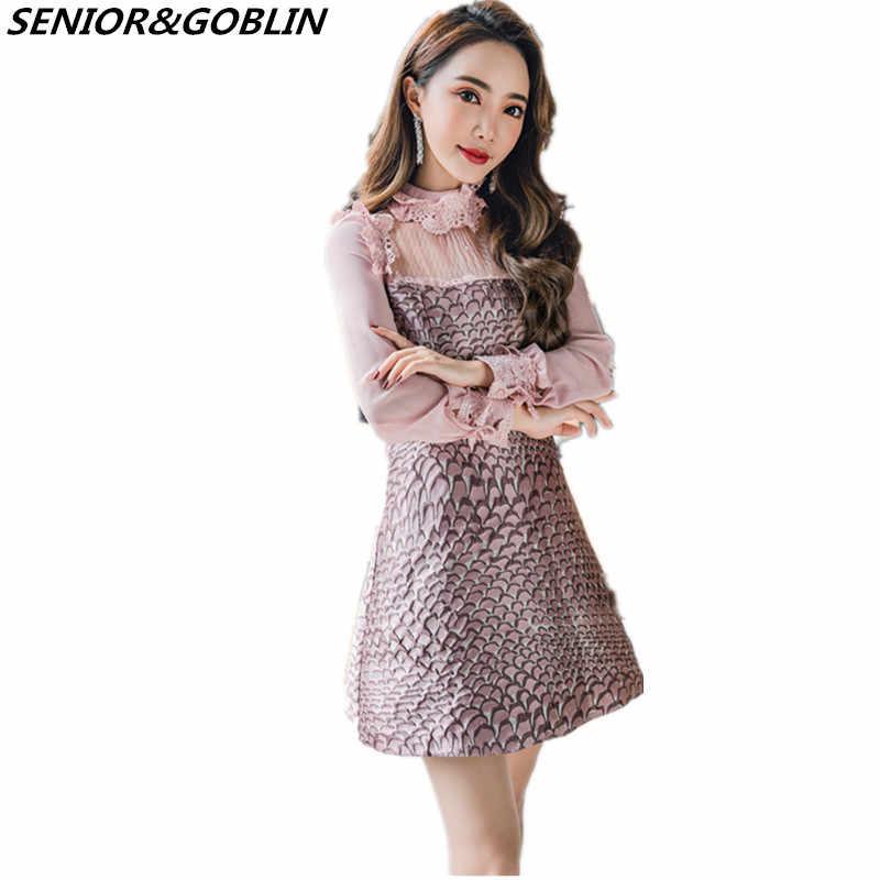 d8c5183f11060c2 2018New высокое качество розовый кружево лоскутное мини платье Весна для  женщин роскошные взлетно посадочной полосы платья