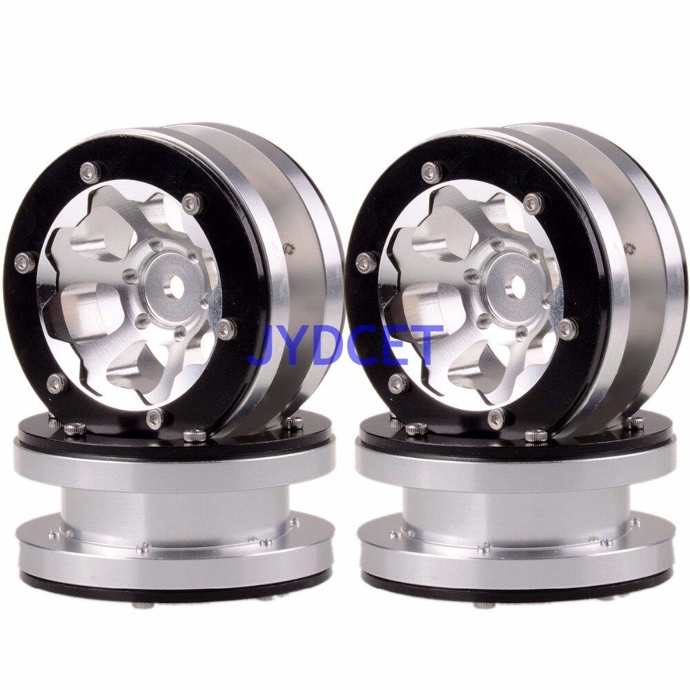 4PCS Aluminum 1.9 Beadlock 6 Spoke Wheel Rim 1061 For RC 1:10 Rock Crawler mxfans 4 x rc1 10 rock crawler black alloy 7 spoke wheel rim simulation rubber tyre