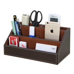 Image 2 - Ever Perfect 6Pcs/Set PU Leather Desk Set Stationery Desk Organizer Box 5 Compartments Pen Holder Mouse Pad Note Case Name Card