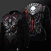 Высокое качество, футболка OW Reaper, 3D, длинный рукав, черная, Genji Hanzo, светящаяся, мужская, для мальчиков, плюс размер, 3XL, 4XL, Reaper, футболки
