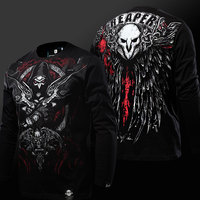High Quality OW Reaper T shirt 3D Long Sleeve Black Genji Hanzo Tshirt Luminous Mens Boys Plus Size 3XL 4XL Reaper Tee shirts