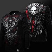 High Quality OW Reaper T shirt 3D Long Sleeve Black Genji Hanzo Tshirt Luminous Mens Boys Plus Size 3XL 4XL Reaper Tee shirts