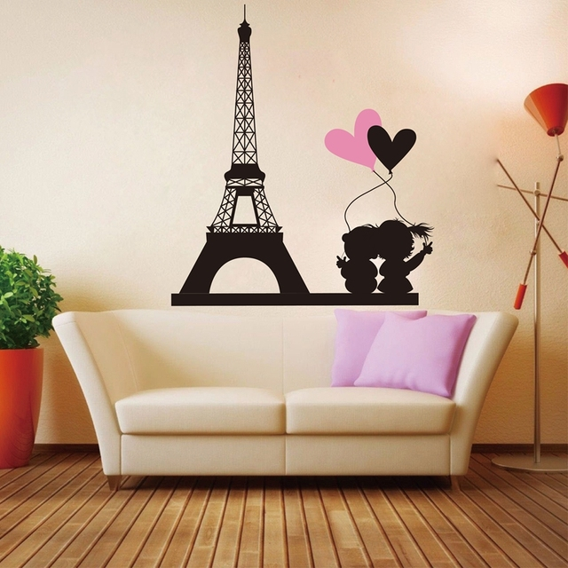 High Quality Free Shipping Love In Paris Eiffel Tower Wall Stickers Removable Vinyl Decals Home Decor