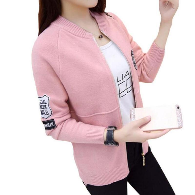 Women sweater zipper 2018 new autumn female sweater cardigan solid color slim student short design outerwear teenage girl