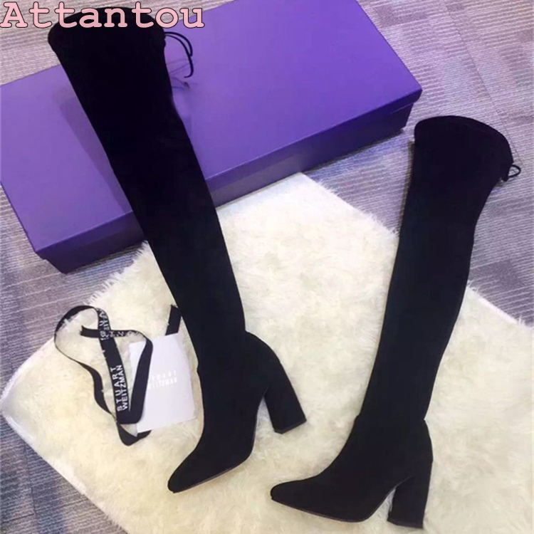 Yang Mi same style winter suede rough with high-heeled knee boots high tube sexy stovepipe stretch long boots fashion shoes цены онлайн