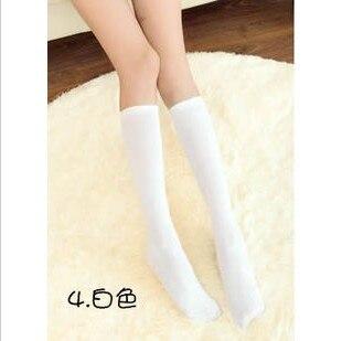 Fcare/10 шт. = 5 пар, Классические однотонные гетры белого и синего цвета, хлопковые носки до колена для школьной формы на Хэллоуин, 38,39 - Цвет: White