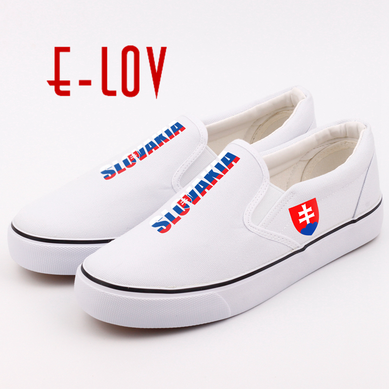 E-LOV Custom Printed Slovakian National Flag Canvas Shoes DIY Slovakia National Emblem Casual Woman Girls Loafer diy 24 national flag patterns electric paper airplane module toy multicolored