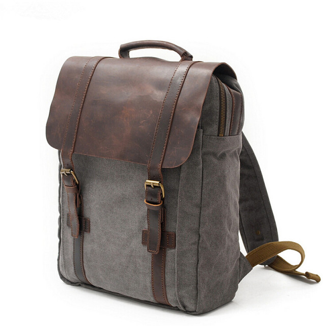 Buy Vintage Fashion Backpack Leather Military Canvas Backpack Men Backpack