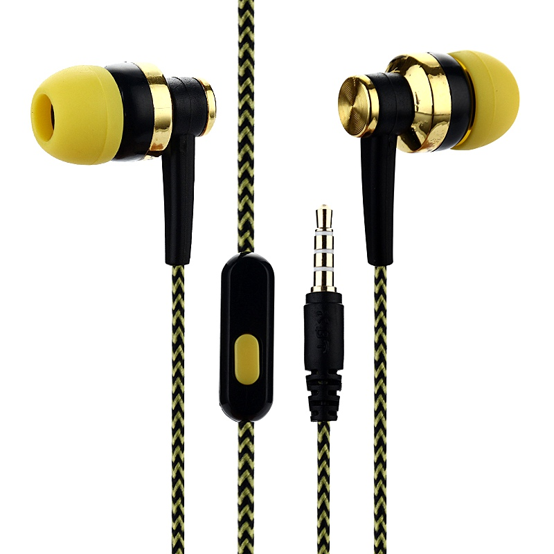 SK-38 Nylon Braided Headset Wired Earphone With Mic Portable Audio And Video Device for iphone Xiaomi In-ear Earphones