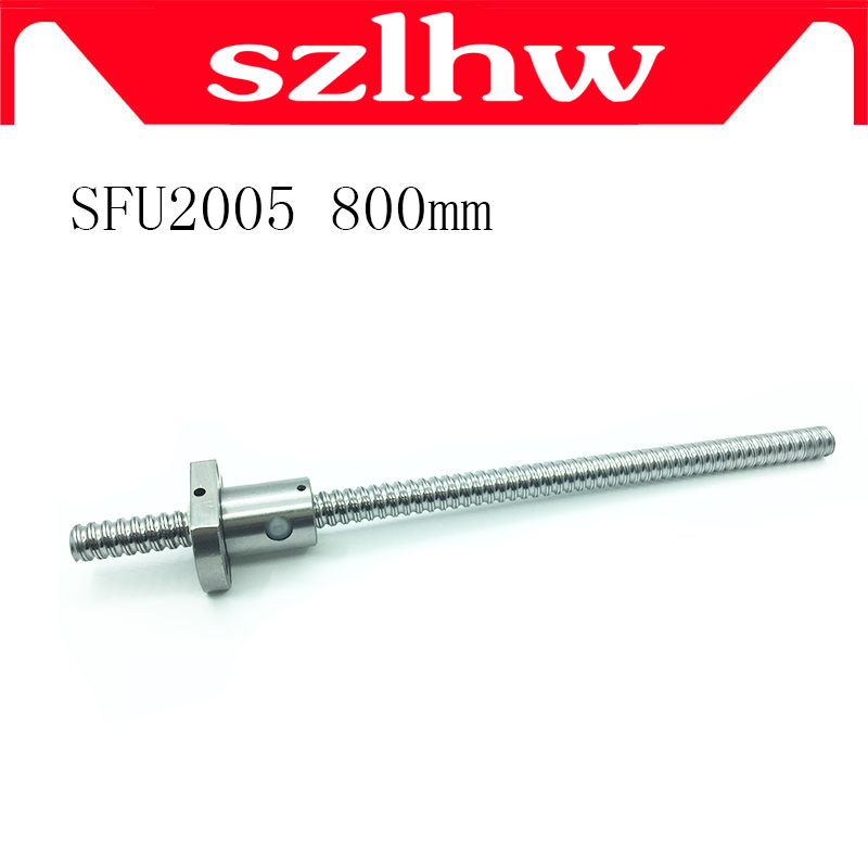 High quality 20mm 2005 Ball Screw Rolled C7 ballscrew SFU2005 800mm with one 2005 flange single ball nut for CNC parts no ends tbi motion 2005 ball screw length 1200mm with sfu2005 ballscrew nut