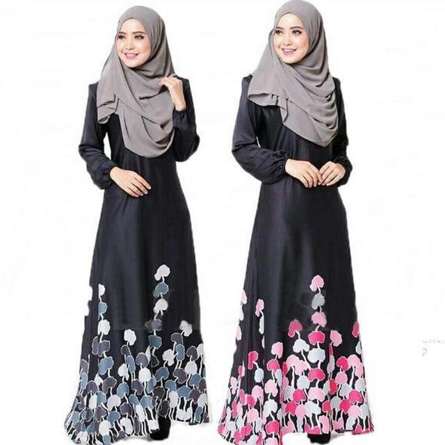 Мода Мусульманских взрослых женщин летом напечатаны абая молитва Платье С Длинным Рукавом дубай Стиль Арабские Одежды Национальный Костюм wj88