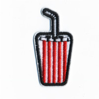Straw Bottles Patches Iron On Embroidered Patch For Clothing Stick On Badge Paste For Clothes Sew On Bag Pants