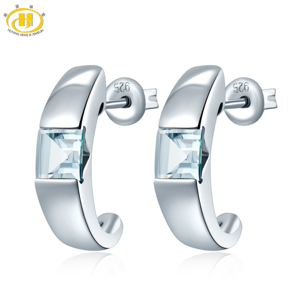 Hutang Stone Jewelry 1.12 CT Genuine Gemstone Aquamarine Solid 925 Sterling Silver Stud Earrings Fine Jewelry For Womens Gift