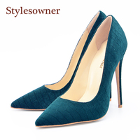 Stylesowner Blue Velvet Lady Pumps Shoes Sexy OL Work Shoe Pointed Toe Shallow Mouth Superstar Runway