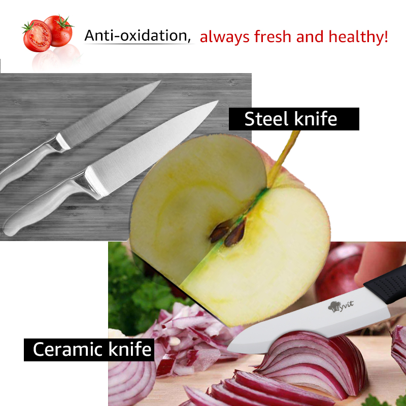 Ceramic Knives Kitchen knives 3 4 5 6 inch Chef knife Cook Set+peeler white zirconia blade Multi-color Handle High Quality 2