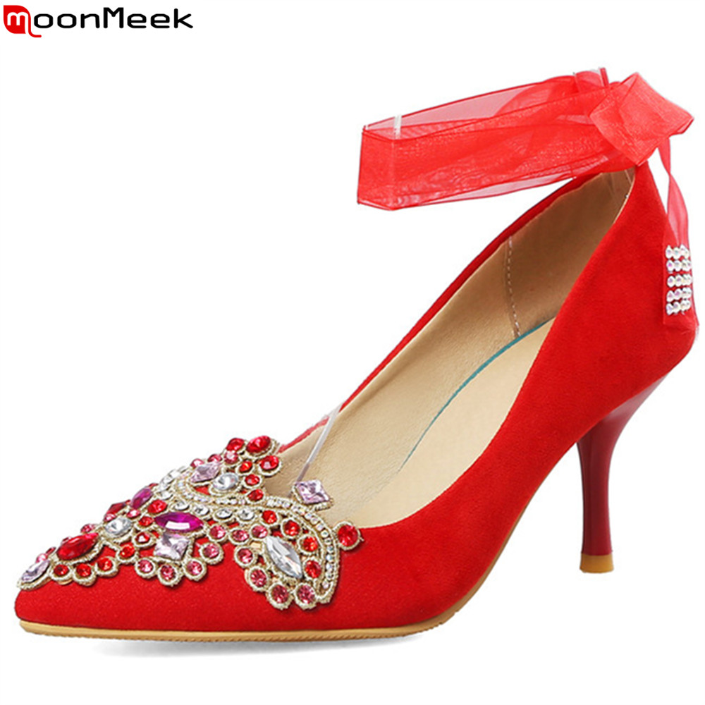 MoonMeek red pink fashion pointed toe shallow elegant women weding shoes thin heels sexy high heels shoes woman big size 34-45 big size 11 12 fashion pointed toe shallow casual thin heels women s shoes extreme high heels pumps woman for women
