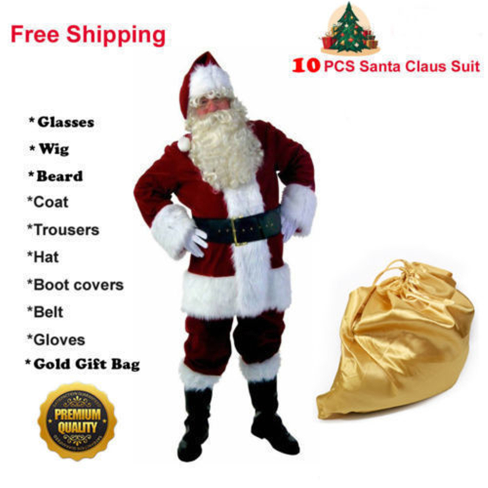 Adult Christmas Costume Deluxe Velvet Santa Suit