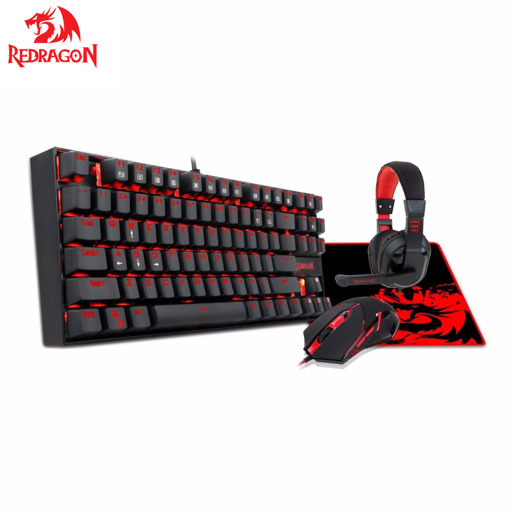 Redrago Combo clavier de jeu mécanique souris et tapis de souris PC casque de jeu avec Microphone LED rétro-éclairé 87 touches clavier K552