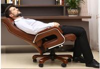 Home computer chair. Reclining boss chair. Leather swivel chair. Fixed armrest leather art office chair.05