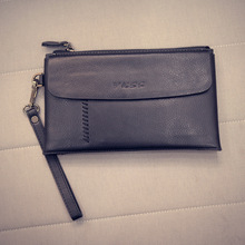 Fashion Solid Color Zipper Wallets Men's PU Leather Clutch Bags Simple Design Handbags