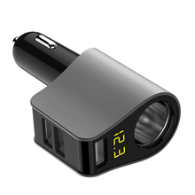 CHUNFA 3 Ports USB Car Charger with LED Digital Car Cigarette Lighter Car-Charger USB Charge Adapter Voltage Tester 80W 3.1A