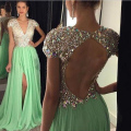 Honey Qiao Long Evening Dresses 2017 Green Side Slit Crystals Beaded V Neck A Line Vestidos De Festa Prom Party Gowns