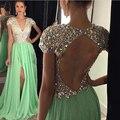 Miel Qiao Largo Vestidos de Noche 2017 Cristales Raja Del Lado Verde con cuentas Cuello En V Una Línea de Vestidos De Fiesta Party Prom vestidos