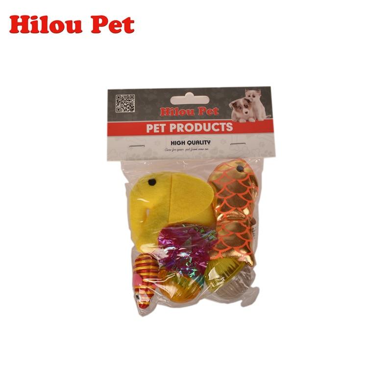 6 pz / pacco Giocattoli interattivi per gatti Set Mini Mouse Mouse Elefante Giochi giocattolo Pesce Palline colorate Divertenti giocattoli da gioco per gatti Gatti