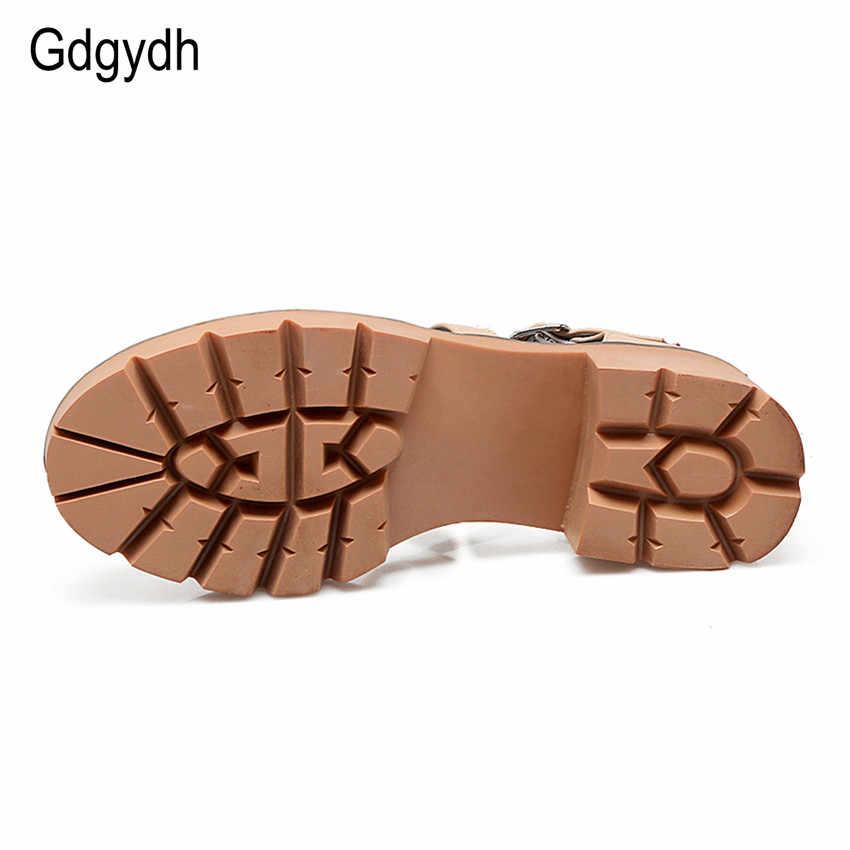 Gdgydh 2019 ฤดูร้อนใหม่ผู้หญิงรองเท้าแตะ Chunky Heel รอบ Toe Cut - outs หวาน Gladiator สุภาพสตรีรองเท้ารองเท้าส้นสูง Plus ขนาด 43