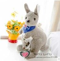 Ücretsiz kargo 35 cm yumuşak eşarp ile Avustralya kanguru bebek roo oyuncaklar peluş oyuncak çocuk kız erkek çocuklar bebek duş doğum günü hediye