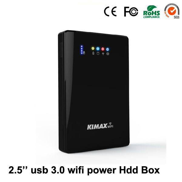 White Plastic usb 3.0 2.5'' inch to sata power bank 4000mh external hdd case 2TB reading capacity  with wifi hdd enclosure