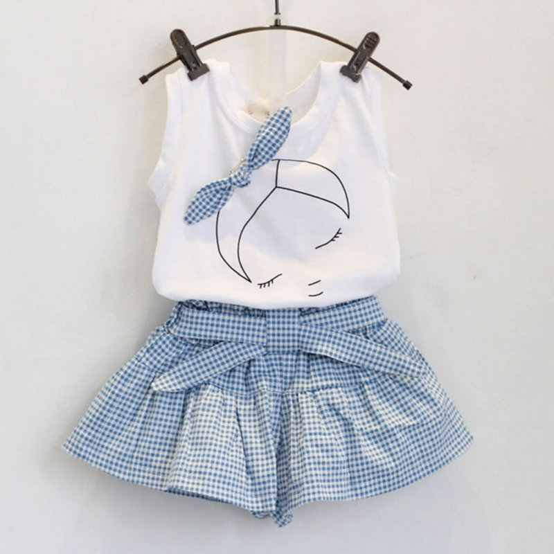 fcd4cbb5 Summer 2pcs Baby Girls Suits Cute Clothes Sets White T Shirt and Plaid Blue  Pants for