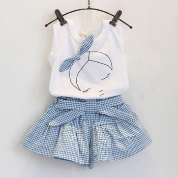 Brand summer baby girl clothing sets fashion Cotton print shortsleeve T-shirt and skirts girls clothes sport suits conjuntos casuales para niñas