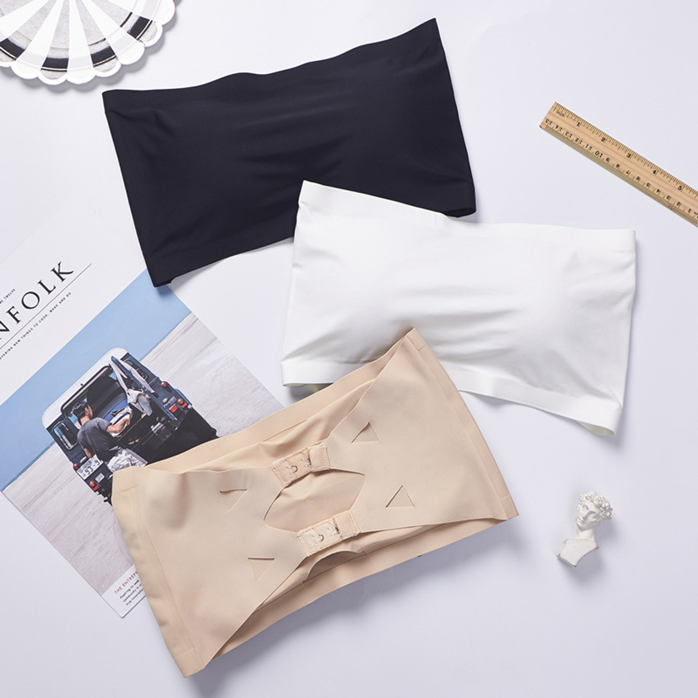 Women Pad Wrapped Chest Underwear Solid Ice Silk Base Crop Top No Trace Bra