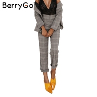 BerryGo Vintage grid casual pants women bottom Zipper suit pants trousers female 2017 autumn streetwear capris winter pants