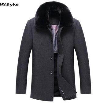 2018 New Casual Long Thicken Warm Winter Coat Wool Big Fur Collar Dark Grey Color Overcoat For Men