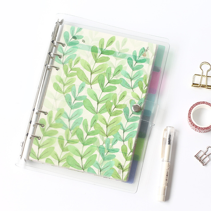 A5 A6 Spiral Notebook Loose Leaf Transparent PP Separator Pages Calendar Separator Plate Planner Accessories
