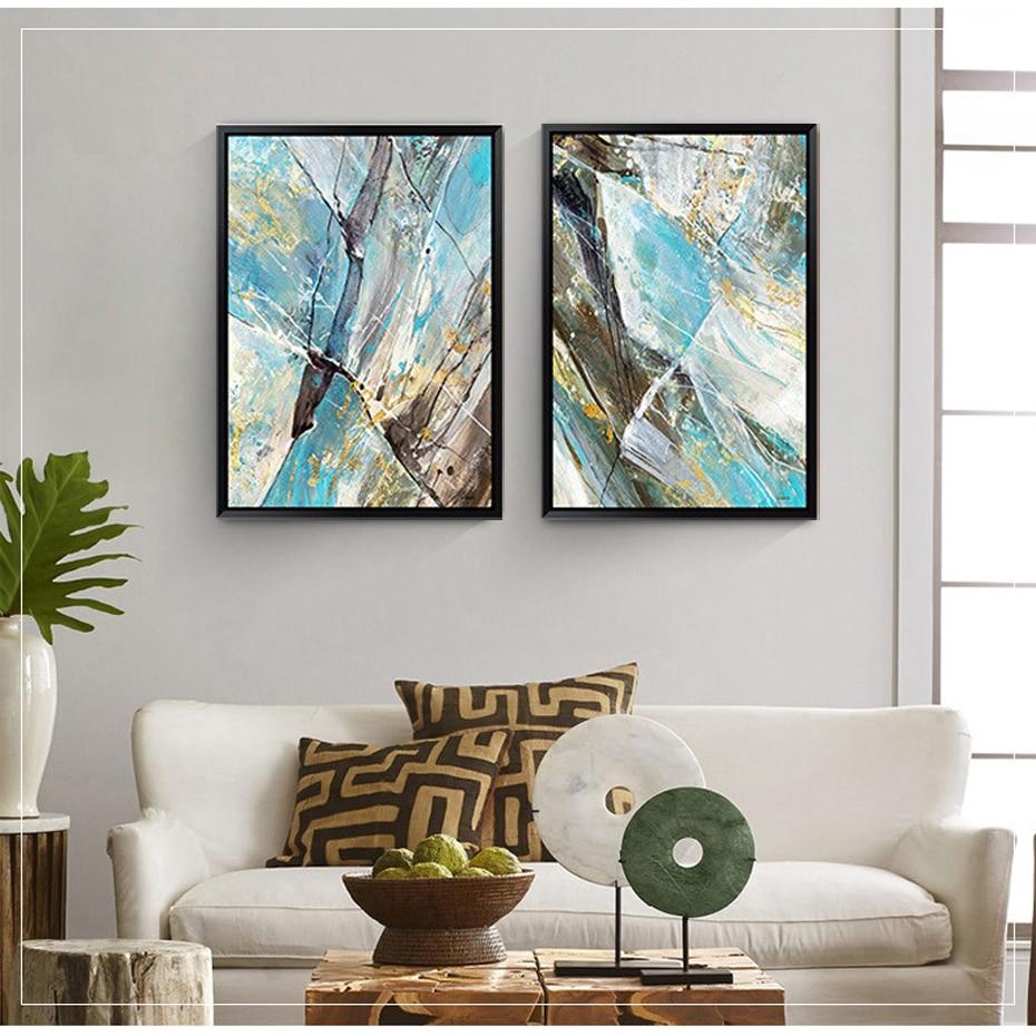 Abstrait Bleu Couleur Toile Peinture Vintage Affiche Imprimer Nordique Pop  Mur Art Photos Pour Bureau Salon Décor à La Maison Pas De Cadre Dans  Peinture Et ...