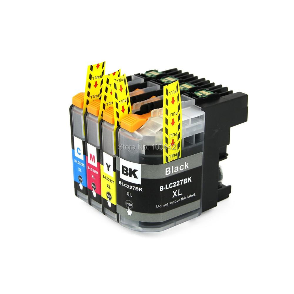 4pcs Compatible ink cartridge for Brother LC227 LC225 LC 227 225 For Brother DCP J4120DW MFC