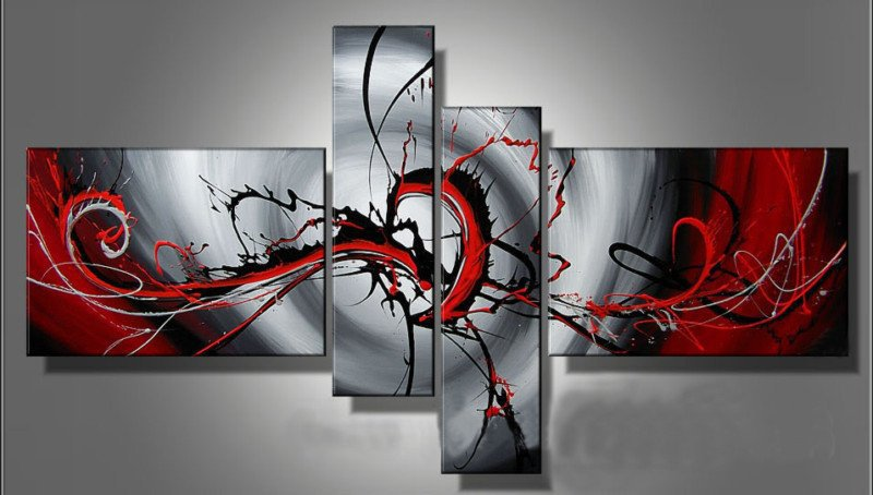 Handmade red white 4 piece modern abstract oil painting on canvas wall art peacock decorations for home with frame ready to hang in painting calligraphy
