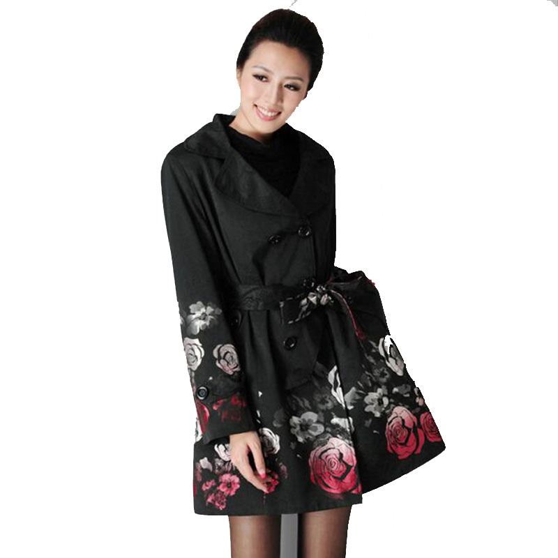 New Printed Trench Coat for Women Female Rose Jacquard Floral Black Long Coat Belt Trench Autumn Plus Size 4XL Outwear