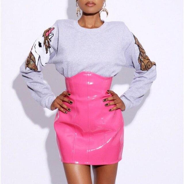 e5853f90 € 12.47 40% de DESCUENTO Alta cintura falda de cuero de 2018 nueva moda  mujer Sexy Mini Faldas lápiz vinilo brillante de fiesta de pijamas Club ...