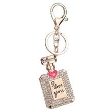 Perfume Fragrance Bottle Keyring Rhinestone Crystal Charm Pendant Keychain Gift