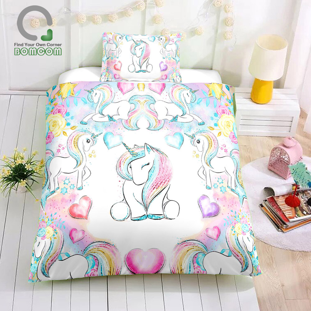 BOMCOM Unicorn Duvet Cover Set Gifts For Teens Unicorn Lovers Fantasy Watercolor Pastel Unicorn Clip Art Rainbow Bedding Set
