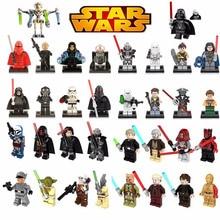 Single Sale legoed Star Wars Luke Leia Han Solo Anakin Darth Vader Yoda Mini Building Blocks bricks Toy Starwars Duplo figures