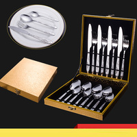 RSCHEF 1 Set 24 Pcs Stainless Steel Knife Fork Steak Knife Western Tableware