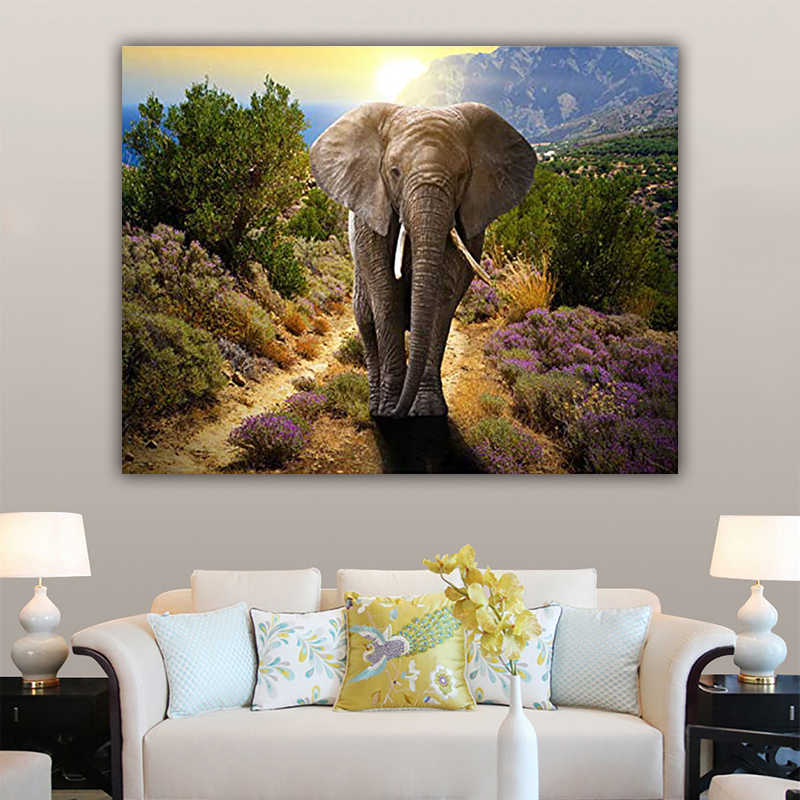 DIY colorings pictures by numbers with colors Elephant picture drawing painting by numbers framed Home
