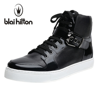 Blaibilton Autumn Winter Mens Ankle Boot 100 Luxury Genuine Cow Leather Fashion Side Zip Buckle Casual
